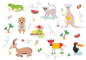 Illustration of animals on a summer vacation. Antelope drinks a drink, rolls of okapi, a toucan in a hat on a paper boat, a chameleon on a log under an umbrella, a crook in a shirt and a cap