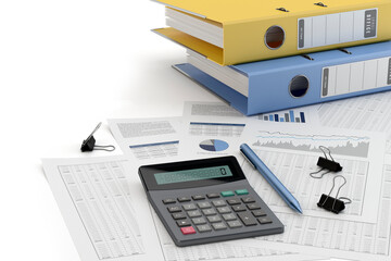 Obraz Accounting concept, white background - 3d illustration - fototapety do salonu