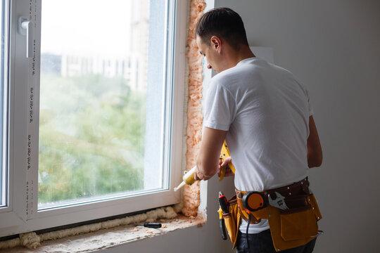 Caulking a new window frame