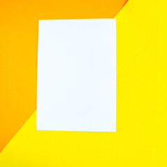 White mockup blank on geometric orange background, copy space for the text