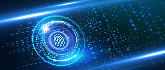 Fingerprint scan provides security.  Business, technology, internet and networking concept. Wall mural