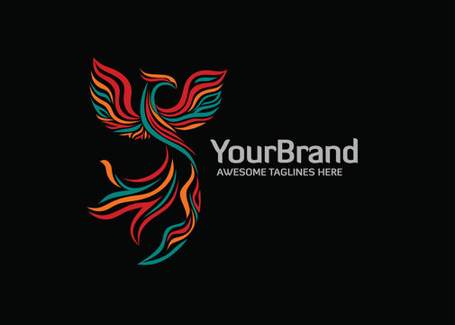 Elegant stylized phoenix logo with Modern color,A great brand for companies related to financial, consulting, technology etc