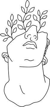 aesthetic greek bust sculpture line art head of a man with plants
