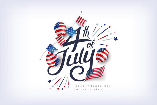 Independence day USA banner template american balloons flag and flags Garlands decor.4th of July celebration poster template.fourth of july calligraphy vector illustration .