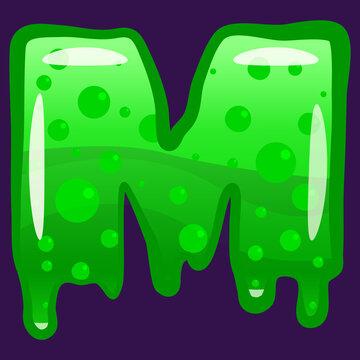 Slime font type letter M latin alphabet. Green bubbling toxic mold