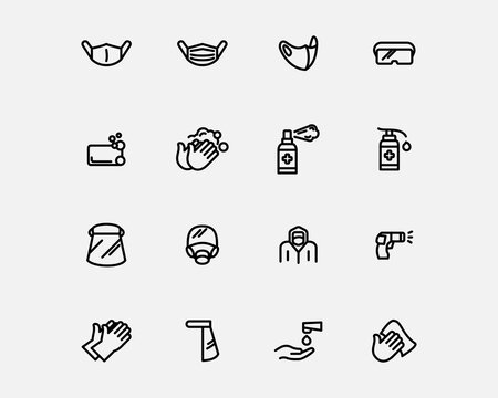 Virus protection equipment icons set vector line style