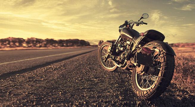 Freedom. Motorbike under sky