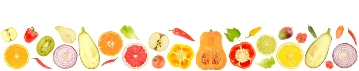 Wall Mural - Fresh vegetables and fruits isolated on white background.