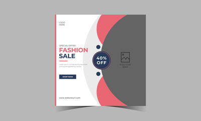 Fashion sale banner design collection or square flyer for dynamic modern web social media instagram post premium template