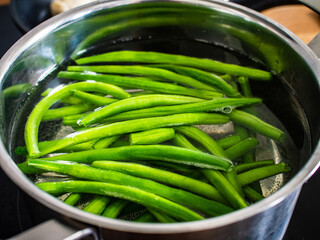 Green beans in pot