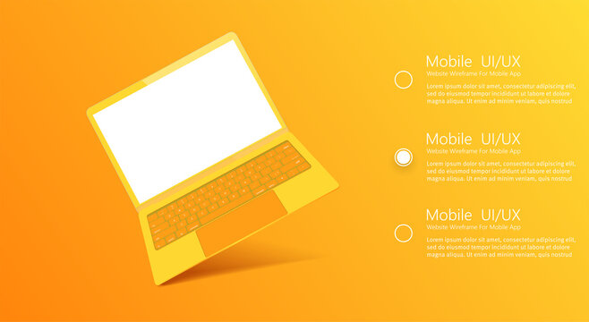Yellow modern Laptop with blank screen in a yellow studio.  Laptop frame with blank display isolated templates, different angles views.3d isometric. Template for infographics or presentation UI design