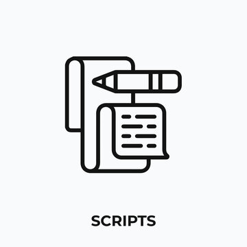 scripts icon. paper icon vector. Linear style sign for mobile concept and web design. paper script symbol illustration. vector graphics - Vector