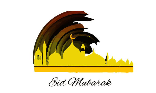 Eid ul Adha Yellow watercolor Mosque PNG