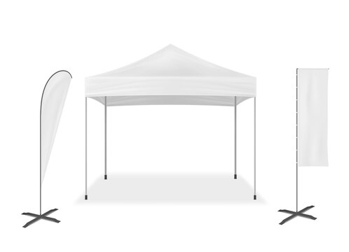 Pop-up mobile tent with event flags, vector mockup. Exhibition mock-up set. Blank white template for business branding design