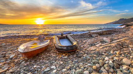 Wall Mural - Two boats on beach