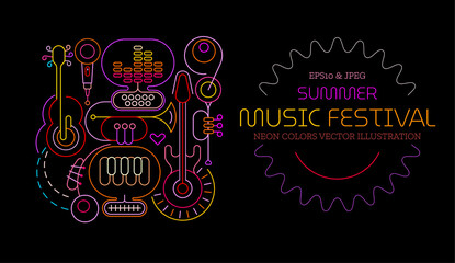 Photo sur Aluminium Art abstrait Neon colors isolated on a black background Summer Music Festival vector poster design. Colored silhouettes of different musical instruments, equipment and text.