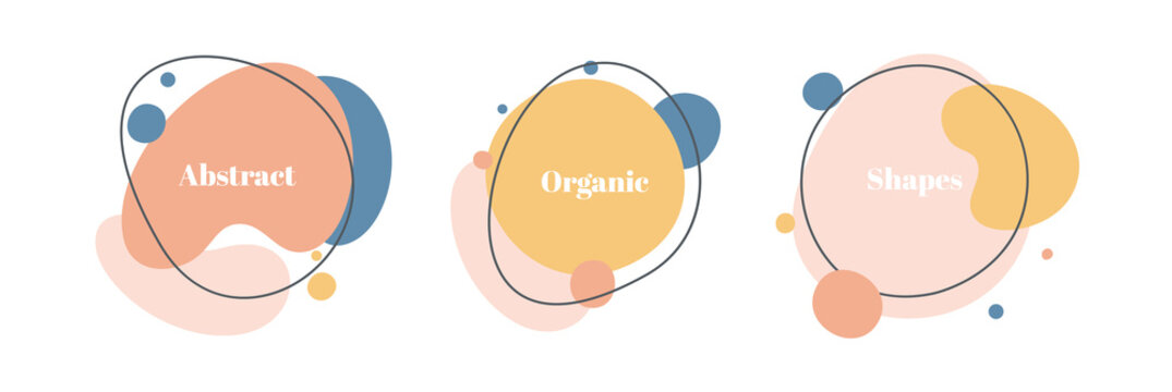 Vector set of minimal backgrounds with organic abstract shapes and sample text in pastel colors