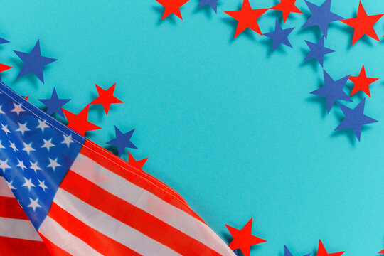Happy Independence Day 4th july background with american flag decorated of  stars and flag. Holidays table top view. flat lay