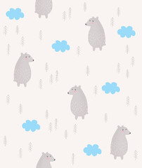 Cute Hand Drawn Bears Seamless Vector Pattern. Lovely Nursery Art with Gray Bears, Trees and Blue Fluffy Clouds. Funny Infantile Style Print ideal for Fabric, Textile, Kids Room Decoration.