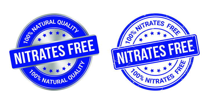 grunge stamp and silver label nitrates free vector illustration