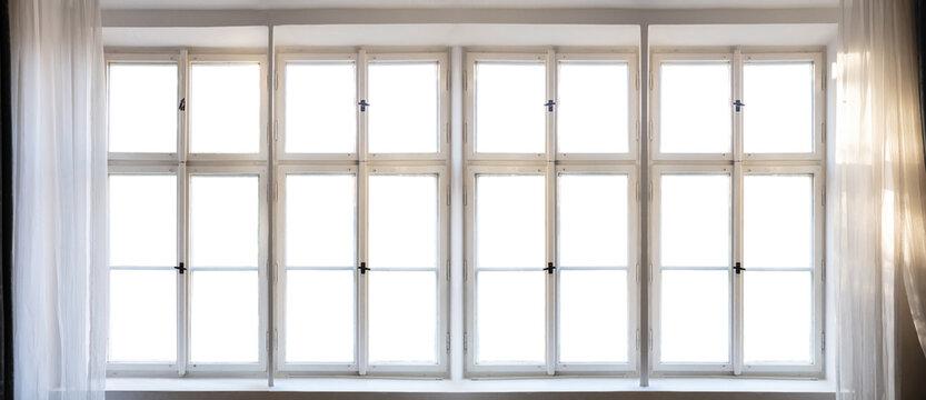 View through old window concept. Vintage white window