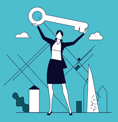 Successful businesswoman with key. Concept illustration.
