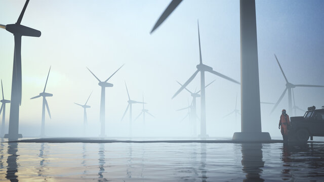 Wind Farm Turbines Sunrise Sunset Black on Black Sand Surrounded by Water and man in Hazmat Suit