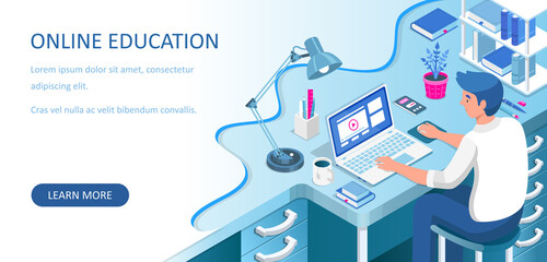 Learning online at home. Student sitting at desk and looking at laptop. E-learning banner. Web courses or tutorials concept. Distance education flat isometric vector illustration.