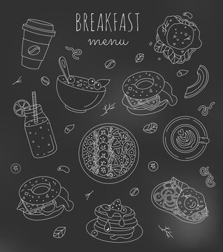 Set of breakfast food illustrations with editable stroke on the blackboard. Healthy menu design in black and white colors