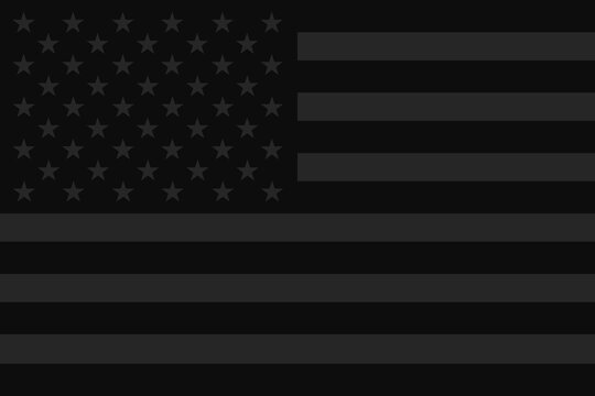 Dark usa flag. Stop racism and Black lives matter concept. Black american flag, poverty and violence. Modern vector. Mourning for victims