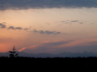 Silhouette of Northwest Cascade Range and forest during twilight hours on Mercer Island on a spring day.