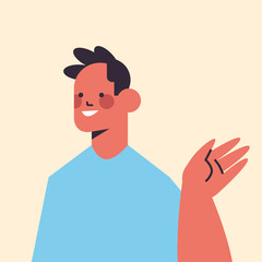 Wall Mural - happy man waving hand in camera smiling guy avatar male cartoon character portrait vector illustration
