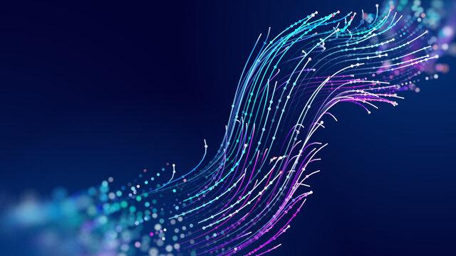 Futuristic data stream vector background. Data transfer technology. Cyberpunk technology