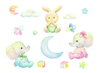 Small, Rabbits, elephants, in clothes. Watercolor animal in cartoon style, on an isolated background.