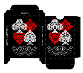 Black playing cards tuck box template
