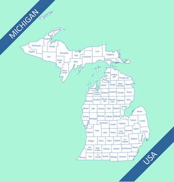 Counties map of Michigan labeled