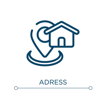 Adress icon. Linear vector illustration. Outline adress icon vector. Thin line symbol for use on web and mobile apps, logo, print media.