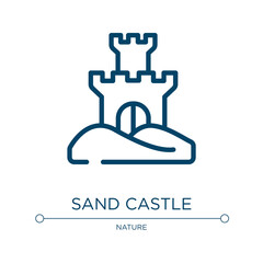 Sand castle icon. Linear vector illustration from tropical collection. Outline sand castle icon vector. Thin line symbol for use on web and mobile apps, logo, print media.