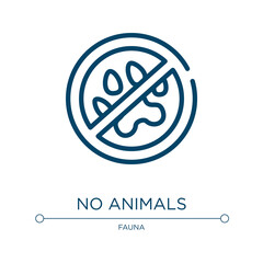 No animals icon. Linear vector illustration from pet shop collection. Outline no animals icon vector. Thin line symbol for use on web and mobile apps, logo, print media.