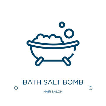 Bath salt bomb icon. Linear vector illustration from spa and yoga collection. Outline bath salt bomb icon vector. Thin line symbol for use on web and mobile apps, logo, print media.