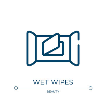 Wet wipes icon. Linear vector illustration from make up collection. Outline wet wipes icon vector. Thin line symbol for use on web and mobile apps, logo, print media.