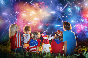 Acrylic Prints Akt American family on Independence Day. 4th of July.