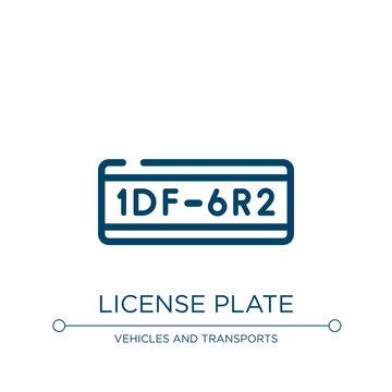 License plate icon. Linear vector illustration from motor show collection. Outline license plate icon vector. Thin line symbol for use on web and mobile apps, logo, print media.