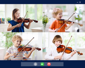 Online orchestra rehearsal. Kids play violin.