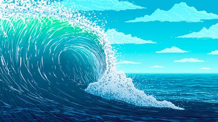 Vector illustration. Big ocean wave.