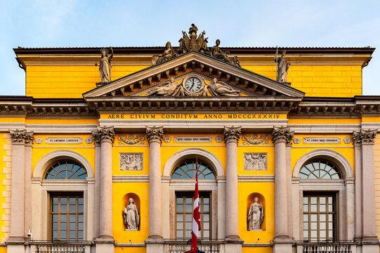 It's City Hall on the Reform Square in Lugano, Switzerland. Piazza della Reforma is the main square of Lugano.