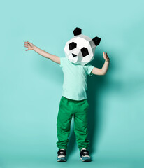 Kid boy in panda mask white blank t-shirt and green pants is posing with arms spread wide