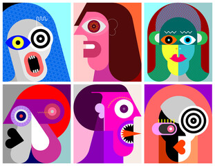Photo sur Aluminium Art abstrait Six Portraits modern art vector illustration. Composition of six different abstract images of human face.