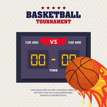 basketball , label, design of basketball ball, flame with ball and score board vector illustration design