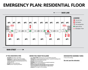 Emergency plan or egress plan. Plan of a residential floor of apartment complex or strata building Detailed text instruction for residents in case of an emergency.